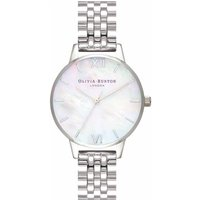 Olivia Burton Midi White Mother of Pearl & Silver Bracelet Watch - Pearl Gifts