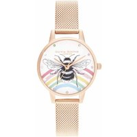 Olivia Burton Illustrated Animals Rainbow Bee, Rose Gold Mesh Watch - Jewellery Gifts