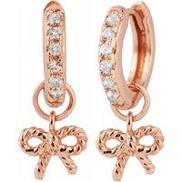 Olivia Burton Vintage Bow Huggie Hoop Rose Gold Earrings - Vintage Gifts