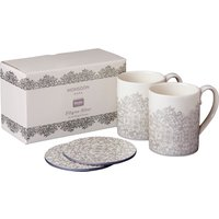 Monsoon Filigree Silver Set Of 2 Mugs & Coasters