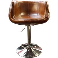 Grande Barstool Vintage Tan Distressed Real Leather