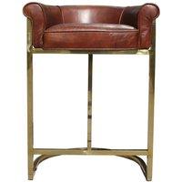 Gold Frame Vintage Leather Barstool