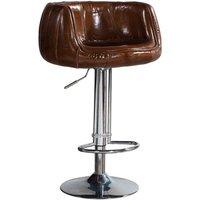 Vintage Distressed Leather Barstool