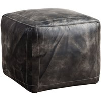 Vintage Distressed Leather Footstool Pouffe Wash Black