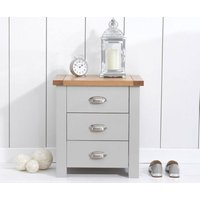 Anna Solid Hardwood Oak And Grey 3 Drawer Nightstand Bedside Table