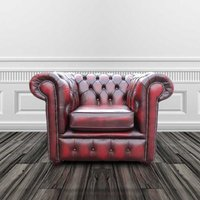 Chesterfield Low Back Club ArmChair Antique Oxblood Leather
