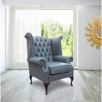Belvedere Chesterfield Leather Queen Anne Armchair