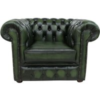 Chesterfield Club Armchair Antique Green Real Leather