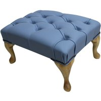 Chesterfield Queen Anne Footstool UK Manufactured Haze Leather