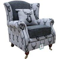 Deer Print Wing Chair Fireside High Back Armchair Grey Fabric