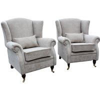 2 x Wing Chairs Fireside High Back Armchair Velluto Hessian…
