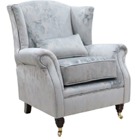 Wing Chair Fireside High Back Armchair Cloud Silver Fabric STOCK
