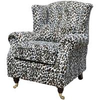 Wing Chair Fireside High Back Armchair Cream Leopard
