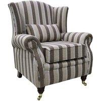 Wing Chair Fireside High Back Armchair Gleneagles Stripe Nutmeg