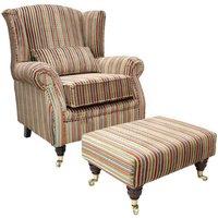 Wing Chair Fireside High Back Armchair Riga Stripe 09 + Footstool