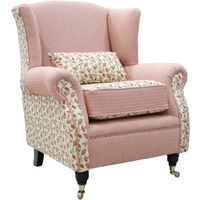 Wing Chair Fireside High Back Armchair Vercelli Burnt Orange Fabric