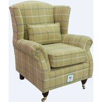 Wing Chair Fireside High Back Armchair Piazza Square Mustard Fabric