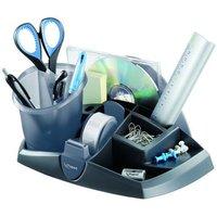 Essentials desk bureauset zwart/grijs, zwarte houder met uitneembare translucente grijze pennenkoker en ...