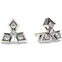 0.10ct. 3 Prong & Pave Setting Round Diamond Delicate Earrings