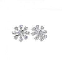 White Gold Round Diamond Cluster Earrings