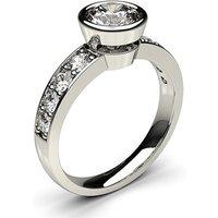 Full Bezel Setting Large Side Stone Engagement Ring