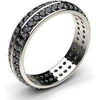 Studded Knife Edge Standard Fit Black Diamond Wedding Band