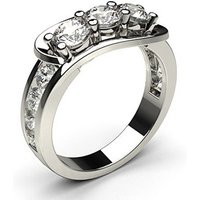4 Prong & Channel Setting Studded Three stone Ring
