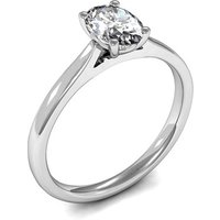 4 Prong Setting Oval Diamond Plain Engagement Ring