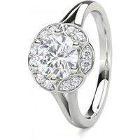 6 Prong Setting Plain Halo Engagement Ring