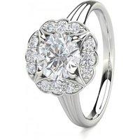 4 Prong Setting Plain Halo Engagement Ring