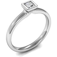 Full Bezel Setting Princess Diamond Plain Engagement Ring