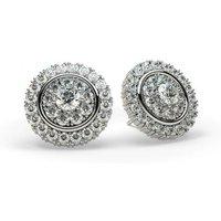 Cluster Diamond Earrings White Gold with 1.00ct H-I I1