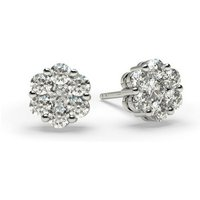 Cluster Diamond Earrings White Gold with 0.45ct H-I I1