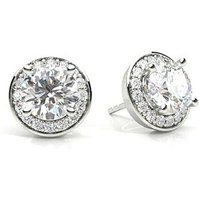 Halo Diamond Earrings White Gold with 1.80ct H I1