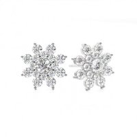 Cluster Diamond Earrings White Gold with 1.55ct H-I I1