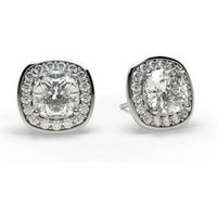 Halo Diamond Earrings White Gold with 1.40ct H SI1