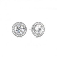 Halo Diamond Earrings White Gold with 1.40ct H I1