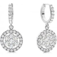Cluster Diamond Earrings White Gold with H-I I1