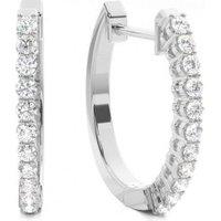 Hoop Earrings Diamond Earrings White Gold with H-I I1