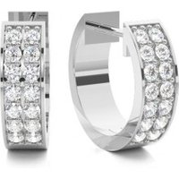 Hoop Earrings Diamond Earrings White Gold with H-I I1