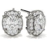 Halo Stud Earrings in 4 Prong Setting with 0.70 ct Diamond H I1