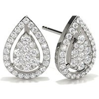 Round Diamond Cluster Earrings in Illusion Setting with 0.5100 ct. wt
