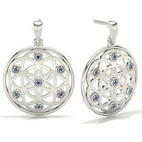 Blue Sapphire Designer Earrings in Pave Setting with 0.0800 ct. wt