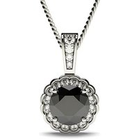 Black Diamond Pendant Necklace White Gold with 0.50ct