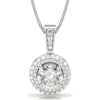 Halo Diamond Pendant Necklace White Gold with 0.20ct H I1