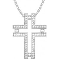 Cross Diamond Pendant Necklace White Gold with 0.25ct H-I I1