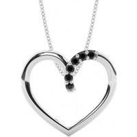 Black Diamond Pendant Necklace White Gold with