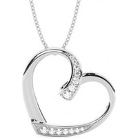 Heart Diamond Pendant Necklace White Gold with H-I I1