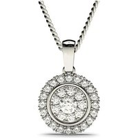 Cluster Diamond Pendant Necklace White Gold with 0.50ct H-I I1