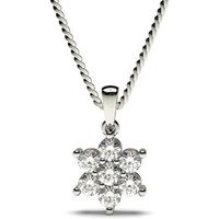 Cluster Diamond Pendant NecklaceWhite Gold with 0.25ct H-I I1